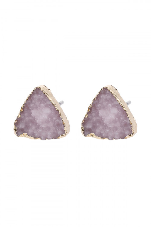 A2-3-5-HDE2938LPK LIGHT PINK TRIANGLE DRUZY STONE STUD EARRINGS/6PAIRS