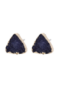 A2-3-5-AHDE2938NV NAVY TRIANGLE DRUZY STONE STUD EARRINGS/6PAIRS
