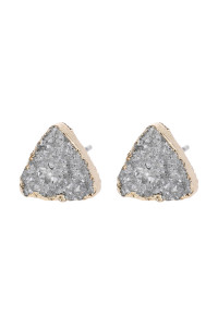 SA3-2-5-AHDE2938S SILVER TRIANGLE DRUZY STONE STUD EARRINGS/6PAIRS