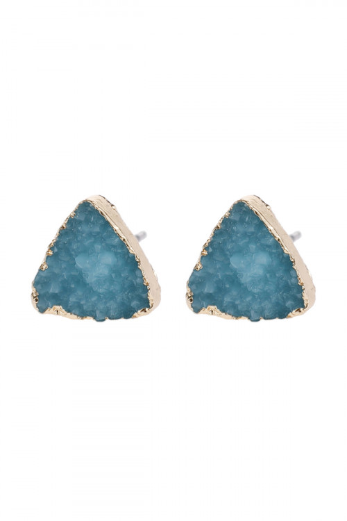 A2-3-5-HDE2938TQ TURQUOISE TRIANGLE DRUZY STONE STUD EARRINGS/6PAIRS
