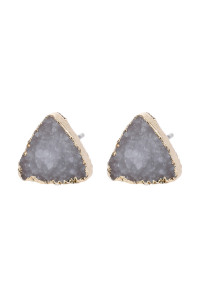 SA3-1-5-AHDE2938WT WHITE TRIANGLE DRUZY STONE STUD EARRINGS/6PAIRS