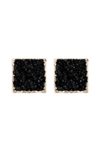 A2-3-5-AHDE2939BK BLACK SQUARE DRUZY STONE STUD EARRINGS/6PAIRS