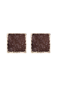 S4-6-4-AHDE2939DBR DARK BROWN SQUARE DRUZY STONE STUD EARRINGS/6PAIRS