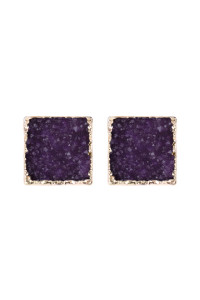 A2-1-5-AHDE2939DPU DARK PURPLE SQUARE DRUZY STONE STUD EARRINGS/6PAIRS