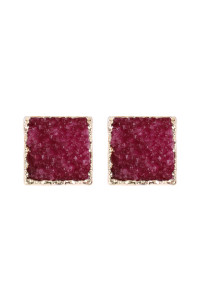 A2-1-5-AHDE2939FS FUCHSIA SQUARE DRUZY STONE STUD EARRINGS/6PAIRS