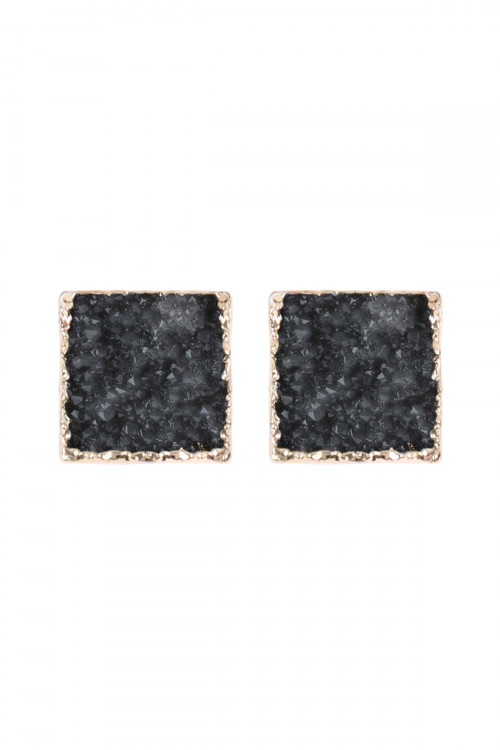 25-2-3-HDE2939GY GRAY SQUARE DRUZY STONE STUD EARRINGS/6PAIRS