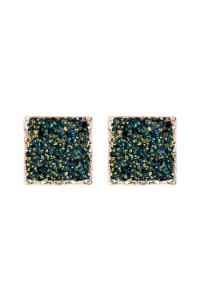 A2-1-5-AHDE2939H PEACH SQUARE DRUZY STONE STUD EARRINGS/6PAIRS