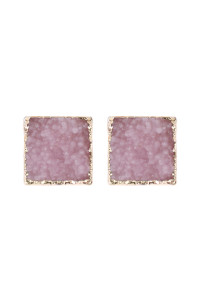 A2-1-5-AHDE2939LPK LIGHT PINK SQUARE DRUZY STONE STUD EARRINGS/6PAIRS