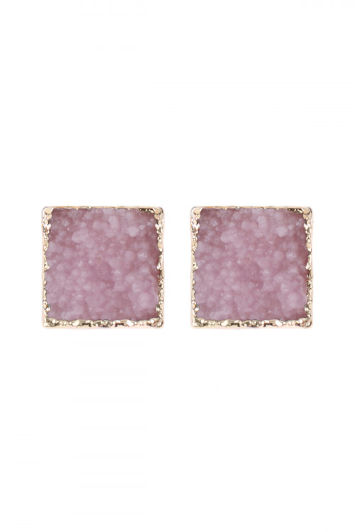 A2-1-5-HDE2939LPK LIGHT PINK SQUARE DRUZY STONE STUD EARRINGS/6PAIRS