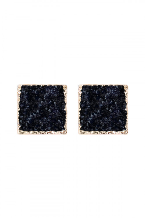 A2-2-5-AHDE2939NV NAVY SQUARE DRUZY STONE STUD EARRINGS/6PAIRS