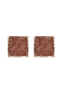 A3-2-5-AHDE2939PH PEACH SQUARE DRUZY STONE STUD EARRINGS/6PAIRS