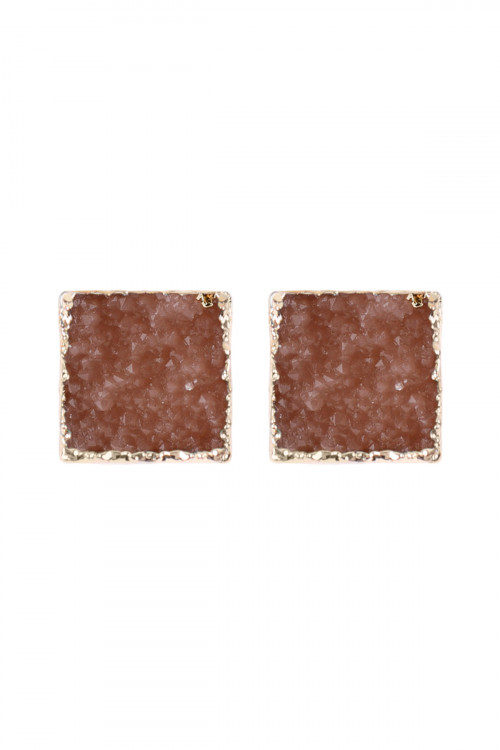 A3-2-5-HDE2939PH PEACH SQUARE DRUZY STONE STUD EARRINGS/6PAIRS