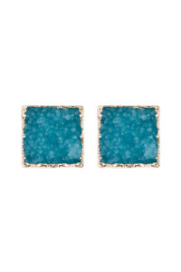 A2-1-5-AHDE2939TQ TURQUOISE SQUARE DRUZY STONE STUD EARRINGS/6PAIRS