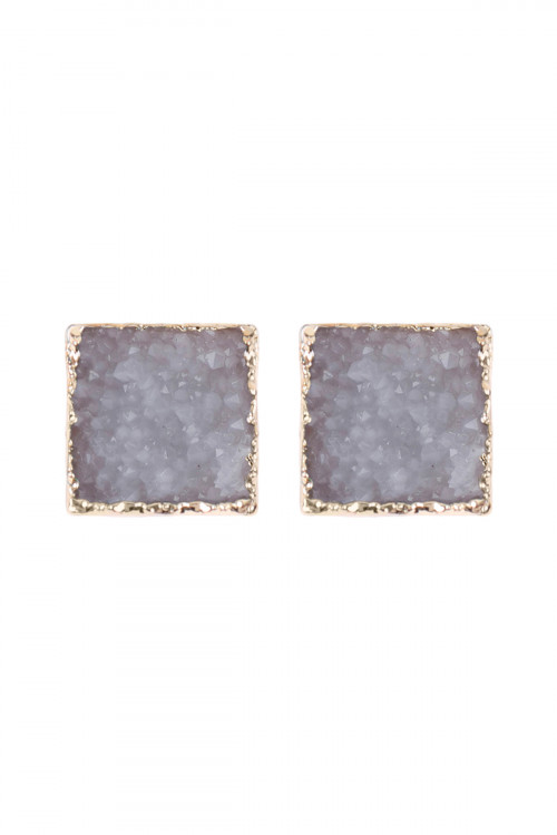 A2-1-5-AHDE2939WT WHITE SQUARE DRUZY STONE STUD EARRINGS/6PAIRS
