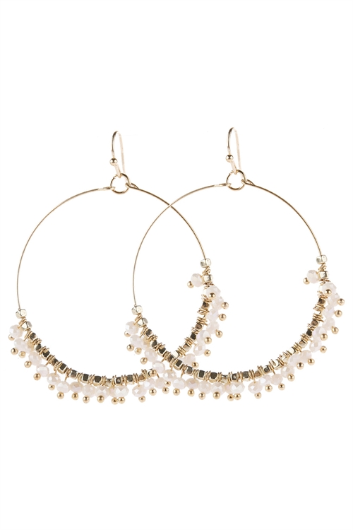 A1-2-5-AHDE2949BG BEIGE BEADED HOOP DANGLE EARRINGS/6PAIRS