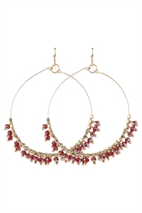 A1-2-5-AHDE2949BU BURGUNDY BEADED HOOP DANGLE EARRINGS/6PAIRS