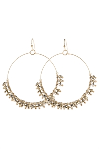 A3-3-5-AHDE2949G GOLD BEADED HOOP DANGLE EARRINGS/6PAIRS