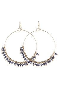 A3-3-5-AHDE2949NV NAVY BEADED HOOP DANGLE EARRINGS/6PAIRS