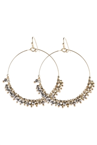 A1-2-5-AHDE2949S SILVER BEADED HOOP DANGLE EARRINGS/6PAIRS