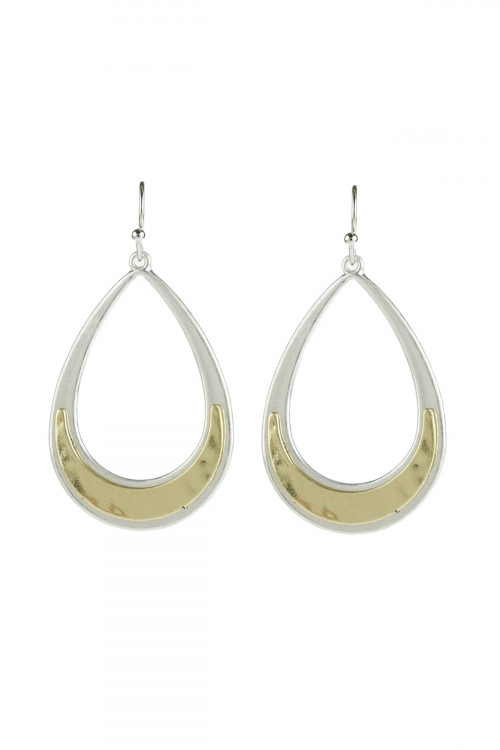 A2-1-5-AHDE2963MX TWO TONE TEARDROP DANGLE HOOK EARRINGS/6PAIRS