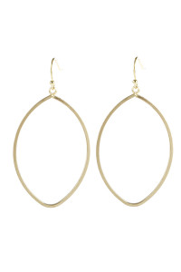 A1-3-5-AHDE2965SG MATTE GOLD OPEN LEAF DANGLE HOOK EARRINGS/6PAIRS