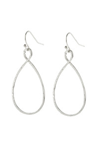 SA3-1-5-AHDE2966SR MATTE SILVER TWISTED OPEN TEARDROP DANGLE HOOK EARRINGS/6PAIRS