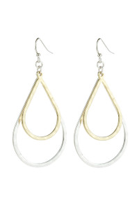 A1-2-5-AHDE2967SR SILVER GOLD DOUBLE OPEN TEARDROP DANGLE HOOK EARRINGS/6PAIRS