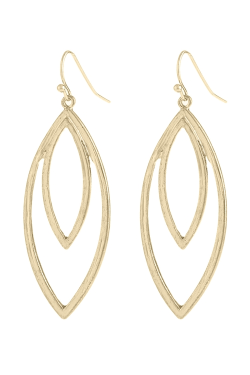 A2-1-5-HDE2969SG GOLD DOUBLE OPEN MARQUISE DANGLE HOOK EARRINGS/6PAIRS