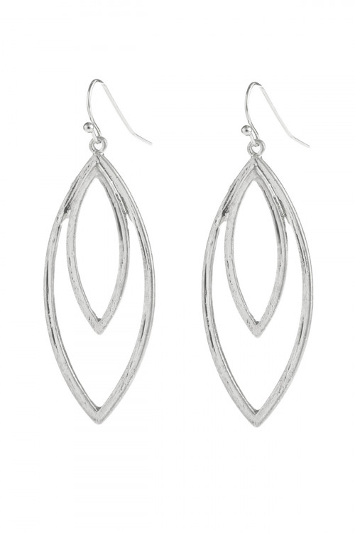 A2-1-5-AHDE2969SR SILVER DOUBLE OPEN MARQUISE DANGLE HOOK EARRINGS/6PAIRS