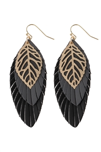A1-1-5-AHDE2985BK BLACK LEAF LAYERED FRINGED LEATHER EARRINGS/6PAIRS