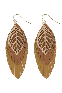 A1-1-5-AHDE2985BR BROWN LEAF LAYERED FRINGED LEATHER EARRINGS/6PAIRS