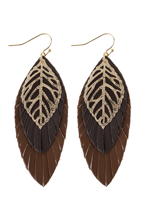 A3-3-5-AHDE2985DBR DARK BROWN LEAF LAYERED FRINGED LEATHER EARRINGS/6PAIRS