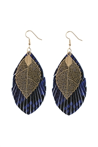 A2-2-5-AHDE2987BL BLUE LAYERED FRINGE LEATHER EARRINGS/6PAIRS