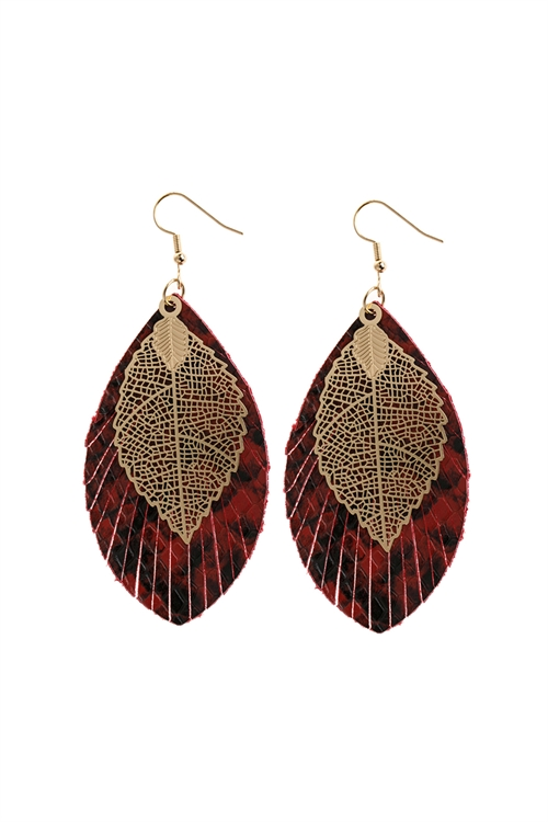 A1-3-2-AHDE2987BU BURGUNDY LAYERED FRINGE LEATHER EARRINGS/6PAIRS