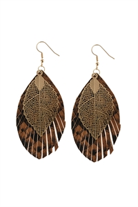 A1-3-2-AHDE2987DBR DARK BROWN LAYERED FRINGE LEATHER EARRINGS/6PAIRS