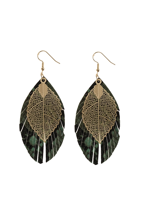 A2-2-5-AHDE2987GR GREEN LAYERED FRINGE LEATHER EARRINGS/6PAIRS
