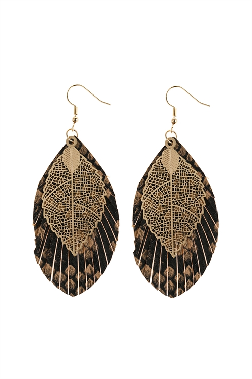 A2-2-5-AHDE2987LBR LIGHT BROWN LAYERED FRINGE LEATHER EARRINGS/6PAIRS
