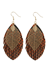 A1-3-2-AHDE2987OR ORANGE LAYERED FRINGE LEATHER EARRINGS/6PAIRS