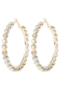 "S5-5-3-AHDE2993AB AB 2"" CRYSTAL BEADS HOOP EARRINGS/6PAIRS"