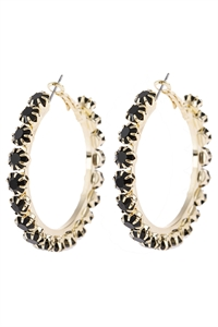 "S5-6-2-AHDE2993BK BLACK  2"" CRYSTAL BEADS HOOP EARRINGS/6PAIRS"