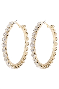 "S5-6-2-AHDE2993CRY CLEAR 2"" CRYSTAL BEADS HOOP EARRINGS/6PAIRS"