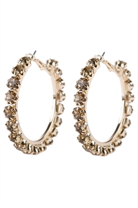 "S6-5-3-AHDE2993TP TAUPE 2"" CRYSTAL BEADS HOOP EARRINGS/6PAIRS"