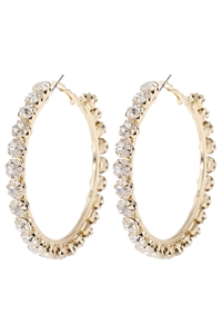 "S6-6-5-AHDE2994CRY CLEAR 1.75"" CRYSTAL BEADS HOOP EARRINGS/6PAIRS"
