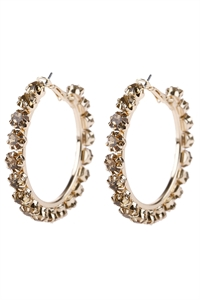 "S5-6-5-AHDE2994TP TAUPE 1.75"" CRYSTAL BEADS HOOP EARRINGS/6PAIRS"