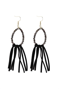 A1-3-1-AHDE3001BK BLACK BEADS WITH CLOTH TASSEL DANGLE EARRINGS/6PAIRS