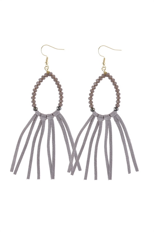 S1-3-1-AHDE3001GY GRAY BEADS WITH CLOTH TASSEL DANGLE EARRINGS/6PAIRS
