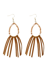A1-3-1-AHDE3001LBR LIGHT BROWN BEADS WITH CLOTH TASSEL DANGLE EARRINGS/6PAIRS