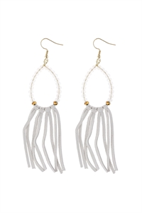 A1-3-1-AHDE3001WT WHITE BEADS WITH CLOTH TASSEL DANGLE EARRINGS/6PAIRS