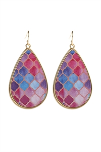 S6-6-5-AHDE3003MTA MULTI COLOR A PATTERN PRINT FAUX LEATHER DROP EARRINGS/6PAIRS