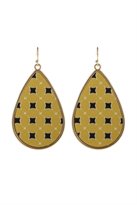 S6-6-5-AHDE3003YW YELLOW PATTERN PRINT FAUX LEATHER DROP EARRINGS/6PAIRS